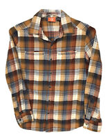 Merrell Women's Petite Small Colorful Plaid Button Up Long Sleeve Flannel Shirt