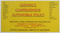 VTG Ink Blotter Central Insurance Co of Baltimore Gettysburg PA Auto Policy
