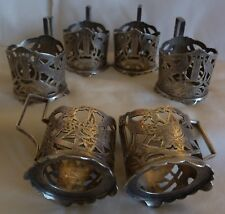 6 ANTIQUE PERSIAN 84 SILVER CUP GLASS HOLDERS 388 grams ROSE, HARP, HAND SAWED