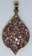 3.01g 9K Yellow Gold Pink Sapphire and Diamond Pendant by Rocks & Co