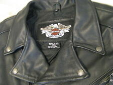 Harley Davidson Black Leather Motorcycle Jacket H-D Cafe Racer Sport USA Made XL