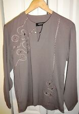 Senior Shirts Gray Silky Embellished Long-Sleeve Tunic Blouse - Size XL/40