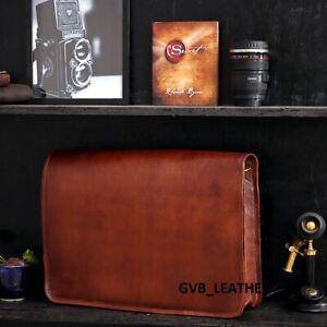 vintage leather messenger day tripper satchel bag genuine laptop brown briefcase