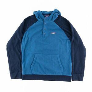 Patagonia Mens Medium Micro D Snap T Fleece Hoody Pullover Sweater Jacket Blue
