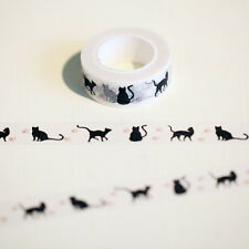 Cute Black Cat Masking Tape Washi Tape DIY Decoration Scrapbooking 1.5cm*100cm