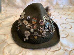 Hubertus Vintage Traditional Oktoberfest German Wool Hat 32 PINS & GAMSBOT Pin