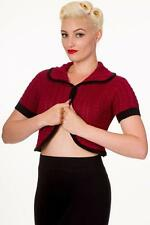 NEW  S UK 10 RED MAROON CROPPED SHRUG CARDIGAN TOP VINTAGE CABLE KNIT