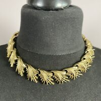 VINTAGE 60s Coro Abstract Leaf Necklace Gold Tone Collar Length Retro Kitsch