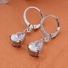 Elegant 925 Silver Jewelry Vintage Amethyst Drop Dangle Earrings Women's Fashion