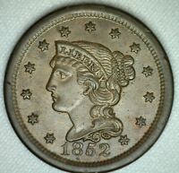 1852 Braided Hair Large Cent Copper US Type Coin Uncirculated 1c Penny Brown #B