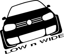 VW Low and Wide Sticker, vinyl graphics, slammed BUMPER funny golf