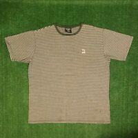 Vintage 90's POLO JEANS Co. Ralph Lauren Green &Gray Striped Tshirt Size - L