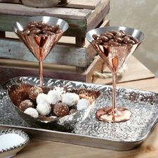 2 Luxurious Stainless Martini Glasses Copper Plated (Set of 2)