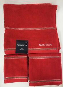 NEW 3 PCS SET NAUTICA BRIG RED ROPE STRIPES COTTON,BATH,HAND TOWEL+WASH CLOTH