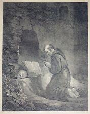 """Eau Forte d'HEINRICH GUTTENBERG, """"Saint François"""", XIXème"""