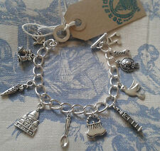HAND MADE Mary Poppins Inspired Silver charm bracelet Spoonful of Sugar Carousel