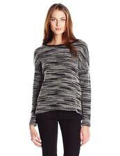 NEW NWT Three Dots Women's Space Dye Terry Sweatshirt Black/White Size Small