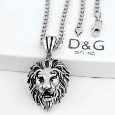 """DG Men's 20"""" Necklace Cuban Chain~Lion Head Pendant,Stainless-Steel Silver + Box"""