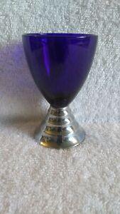 Art Deco CHASE USA Cobalt Blue Glass & Chrome Shot Cup Cordial (INV. 3)