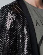 Zara schwarz Punktmuster Pailletten Blazer Jacke Smoking (extra klein) XS 6/8 A399