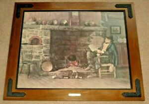"""Vintage Lithograph SOLID COMFORT, W.H. Lippincott Wood & Cast Iron Frame 30""""x36"""""""