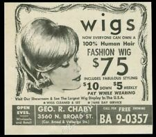 1963 human hair wig wigs illustrated Geo R Chaby Philadelphia vintage print ad