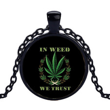 Vintage In Weed We Trust Black Cabochon Glass Necklace chain Pendant