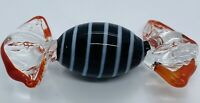 Vintage Art Deco Black w/ White Swirl Art Glass Murano Glass Hard Candy