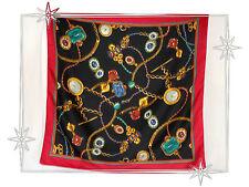 Foulard Fantaisie Marine Rouge Motif Bijoux Joyaux  Polyester 76 x 78 cm
