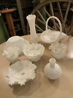 HUGE LOT OF VINTAGE WHITE MILK GLASS HOBNAIL STRETCH FENTON VASE BOWL BASKET