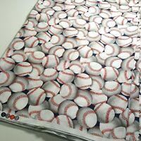 3 Yards Baseballs -  100% Cotton Quilting Fabric - Stash Sale!