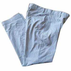 Nike Golf Dri-Fit Mens 30x30 Gray White Stripe Pants Golf Flat Front Polyester