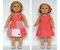 18INCH DOLL CLOTHES~ REVERSIBLE RED DRESS FITS OUR GENERATION AMERICAN GIRL PLUS