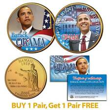 BARACK OBAMA 44th President Hawaii State Quarter 2-Coin Set 24K Gold Plated BOGO
