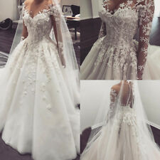 Flower Appliques Bridal Dresses Lace Beaded White Ivory Wedding Princess Gowns