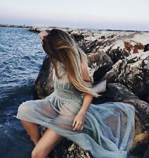 ZARA SIZE L LONG SEA GREEN GATHERED TULLE DRESS MAXIKLEID TÜLL KLEID TÜLLKLEID