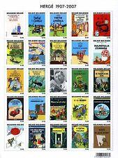 Feuille 25 timbres sheet 25 stamps Hergé TINTIN Centenaire Centennial 1907-2007