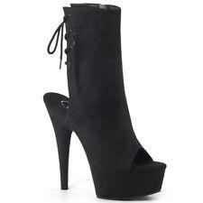 "PLEASER Sexy 6"" Heel Open Toe & Back Black Faux Suede Women's  Ankle Boots"
