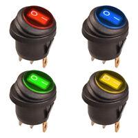 Wippschalter Rund EIN-AUS Wasserdicht IP65 LED Beleuchtet 230V AC Rot Blau Grün