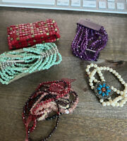 VINTAGE BRACELET LOT VARIOUS BEAD STRETCHY ESTATE SALE RARE