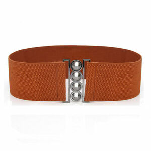 Womens Solid Color Stretch Buckle Waist Belt Wide Elastic Cinch Corset Waistband