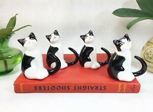 Four Vintage Cat Napkin Holders Bone China Napkin Rings Dining Dinner Setup Cats