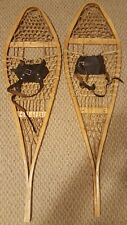 "Antique Snowshoes 42"" Long with Rawhide Webbing & Wood Frame - BASTIEN BROTHERS"