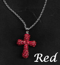 """RHINESTONE ENCRUSTED CROSS PENDANT NECKLACE WITH 18"""" CHAIN - LOTS OF COLOURS"""