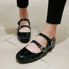 Mary Janes Double Buckle Strap Low heel Patent Leather Pump Shoes Flats Size hot