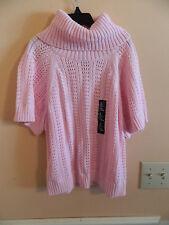 NWT Gap Kids girl short sleeve old school pink loose weave turtleneck sweater; S
