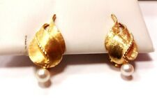 14k solid yellow gold clip on earrings with pearl