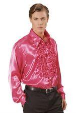 "Pink Satin 70's 80's Ruffle Disco Shirt Fancy Dress Costume XL 48"" Chest"