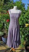 Atemberaubende Fenn Wright Manson grau mit rosa Streifen Getäfelte Leinen Kleid Größe 10