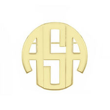 """in 14k Yellow Gold Over Silver Personalized 1"""" 3 Initials Block Monogram Brooch"""